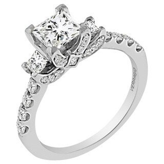 Verragio 18k White Gold Cubic Zirconia and 5/8ct TDW Diamond 3-stone Princess Semi-Mount Engagement Ring
