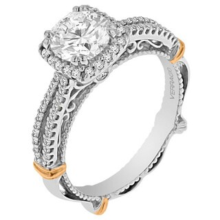 Verragio 14k Two-tone Gold Cubic Zirconia and 1/3ct TDW Diamond Semi- Mount Engagement Ring