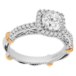 Verragio 14k Two-tone Gold Cubic Zirconia and 1/3ct TDW Diamond Halo Engagement Ring
