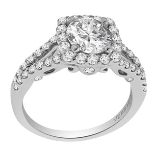 Verragio 18k White Gold Cubic Zirconia and 5/8ct TDW Diamond Engagement Ring (F-G, VS1-VS2)