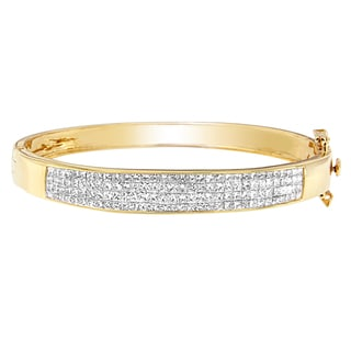 14k Yellow Gold 4ct TDW Princess-cut Diamond Bracelet (H-I, SI1-SI2)