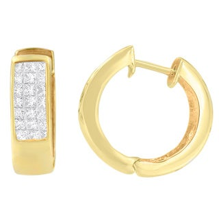 14K Yellow Gold 1/3ct. TDW Princess and Round-cut Diamond Hoop Earrings(H-I,VS1-VS2)
