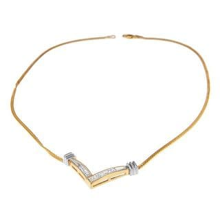 14k Yellow Gold 1/4ct TDW Princess Cut Diamond Chevron Necklace (H-I,SI2-I1)