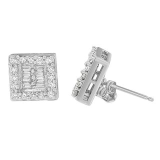 14KT White Gold 1 1/10ct Diamond Round and Baguette Stud Earrings (H-I,SI1-SI2)