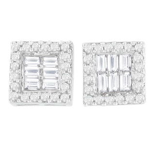 14k White Gold 1ct TDW Round and Baguette( Diamond Stud Earrings H-I,SI1-SI2)