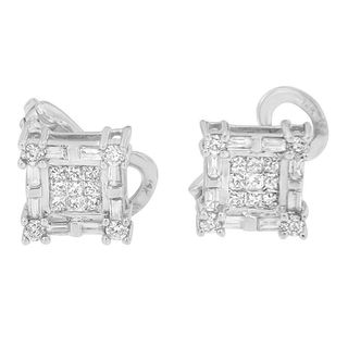 14KT Yellow Gold 1ct TDW Princess,Baguette and Round Cut Diamond Earring (H-I,SI1-SI2)