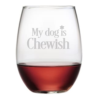 My Dog Is Chewish Stemless Wine Glass (Set of 4)