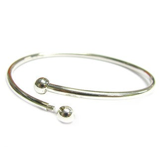 Queenberry Sterling Silver Flex Bangle Cuff Caprice Bracelet with Screw End European Bead Charm