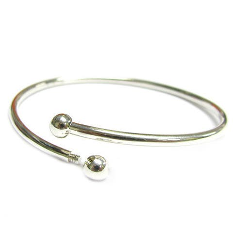 Sterling Silver Flex Bangle Cuff Caprice Bracelet Screw End Bead Charm