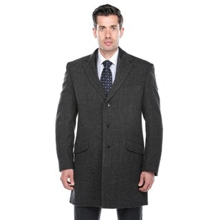 Verno Walt Men's Black and Grey Herringbone Wool Overcoat