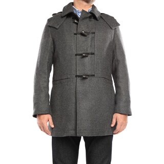 Verno Walt Men's Grey Wool Hooded Toggle Overcoat (4 options available)