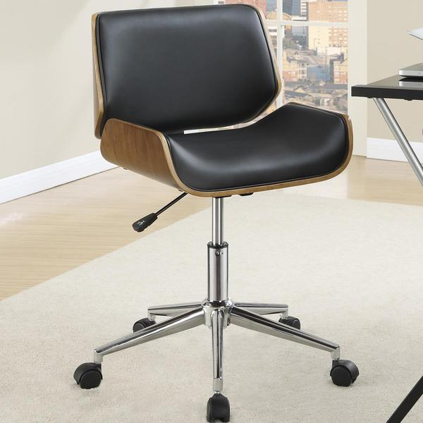 Genial Astrid Adjustable Modern Curved Wood Black Upholstered Swivel Office Chair
