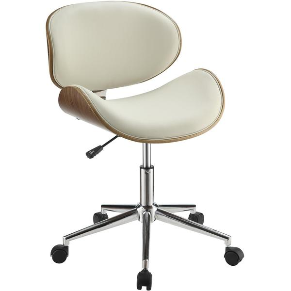 wooden desk chair no wheels wood mat white with cushion mirage adjustable modern curved cream upholstered