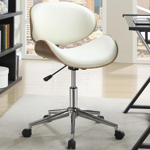 mirage adjustable modern curved wood cream upholstered swivel