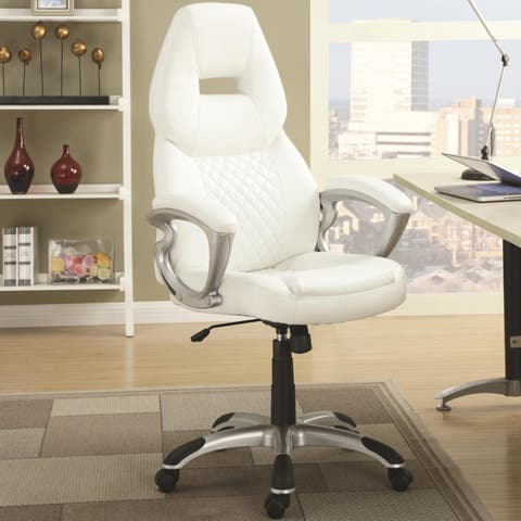 Zender Quilted Modern Design White Adjustable Swivel Office Chair