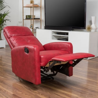 Samedi PU Leather Recliner Club Chair by Christopher Knight Home (Option: Red)
