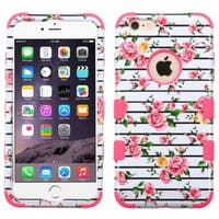 INSTEN Roses/ Electric Pink Rubberized Transparent Dual Layer TUFF Hybrid Phone Protector Cover for iPhone 6 Plus/ 6s Plus