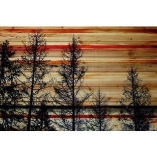 Handmade Parvez Taj - Trees Against Red Sky Print on Natural Pine Wood