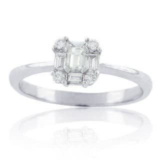 Suzy Levian 14k White Gold 2/5ct TDW Diamond Solitaire Cluster Bridal Engagement Ring|https://ak1.ostkcdn.com/images/products/11104323/P18108571.jpg?impolicy=medium
