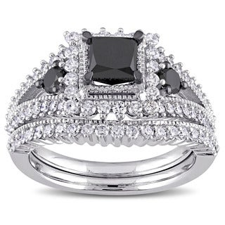 Miadora Signature Collection 10k White Gold 2ct TDW Princess-cut Black and White Diamond 3-stone Bridal Ring Set (G-H, I2-I3)