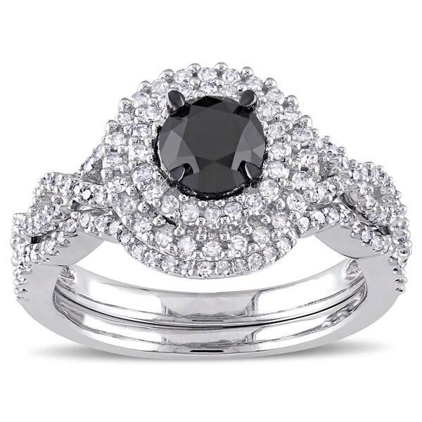 Miadora Signature Collection 10k White Gold 1 1/2ct TDW Black and White Diamond Double Halo Bridal R