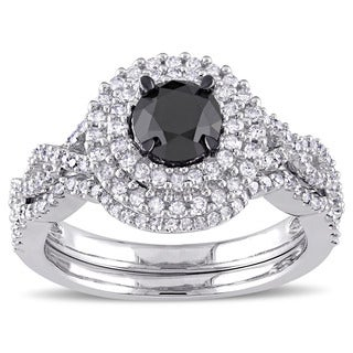Miadora Signature Collection 10k White Gold 1 1/2ct TDW Black and White Diamond Double Halo Bridal Ring Set (G-H, I2-I3)