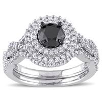 Miadora Signature Collection 10k White Gold 1 1/2ct TDW Black and White Diamond Double Halo Bridal R