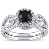 Miadora 10k White Gold 1 1/2ct TDW Black and White Diamond Halo Bridal Ring Set