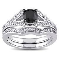 Miadora 10k White Gold 1 1/4ct TDW Black and White Diamond Bridal Ring Set