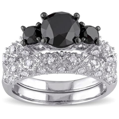 Miadora Signature Collection 10k White Gold 3ct TDW Black and White Diamond 3-stone Bridal Ring Set