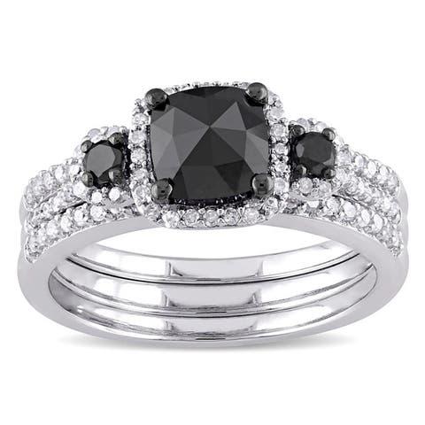 Miadora Sterling Silver 1 3/4ct TDW Cushion-cut Black and White Diamond Halo Bridal Ring Set