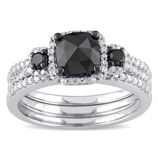 Miadora Sterling Silver 1 3/4ct TDW Cushion-cut Black and White Diamond Halo Bridal Ring Set