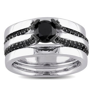 Miadora Sterling Silver 1 3/4ct TDW Black Diamond Bridal Ring Set