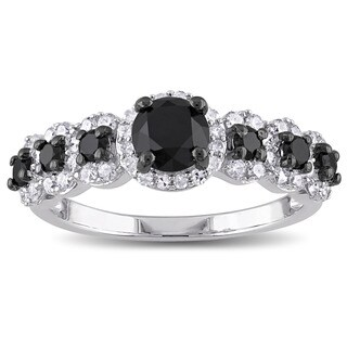 Miadora Sterling Silver 1 1/2ct TDW Black and White Diamond Halo Engagement Ring