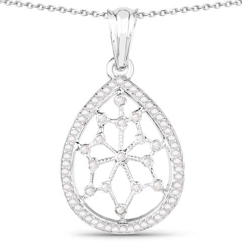 Olivia Leone Sterling Silver 1/4ct TGW White Diamond and Blue Diamond Pendant