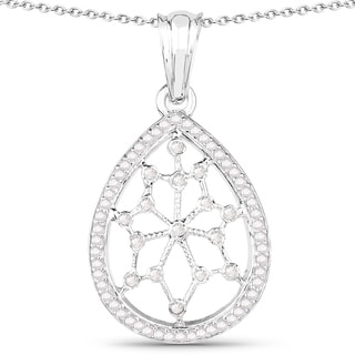 Olivia Leone Sterling Silver 1/4ct TGW White Diamond and Blue Diamond Pendant (I-J, I2-I3)
