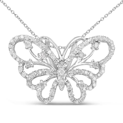 Olivia Leone Sterling Silver 3/8ct TDW White Diamond Pendant