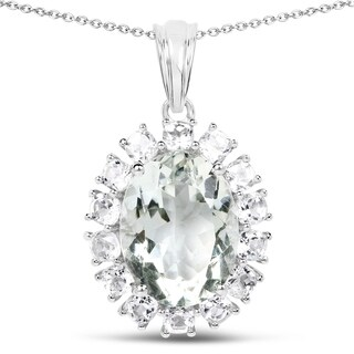 Olivia Leone Sterling Silver 10 3/5ct TGW Genuine Green Amethyst and White Topaz Pendant