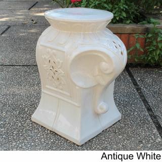 International Caravan Contemporary Elephant Ceramic Garden Stool
