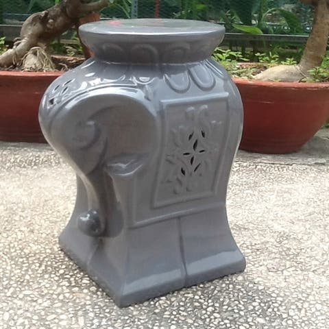 International Caravan Contemporary Elephant Ceramic Garden Stool