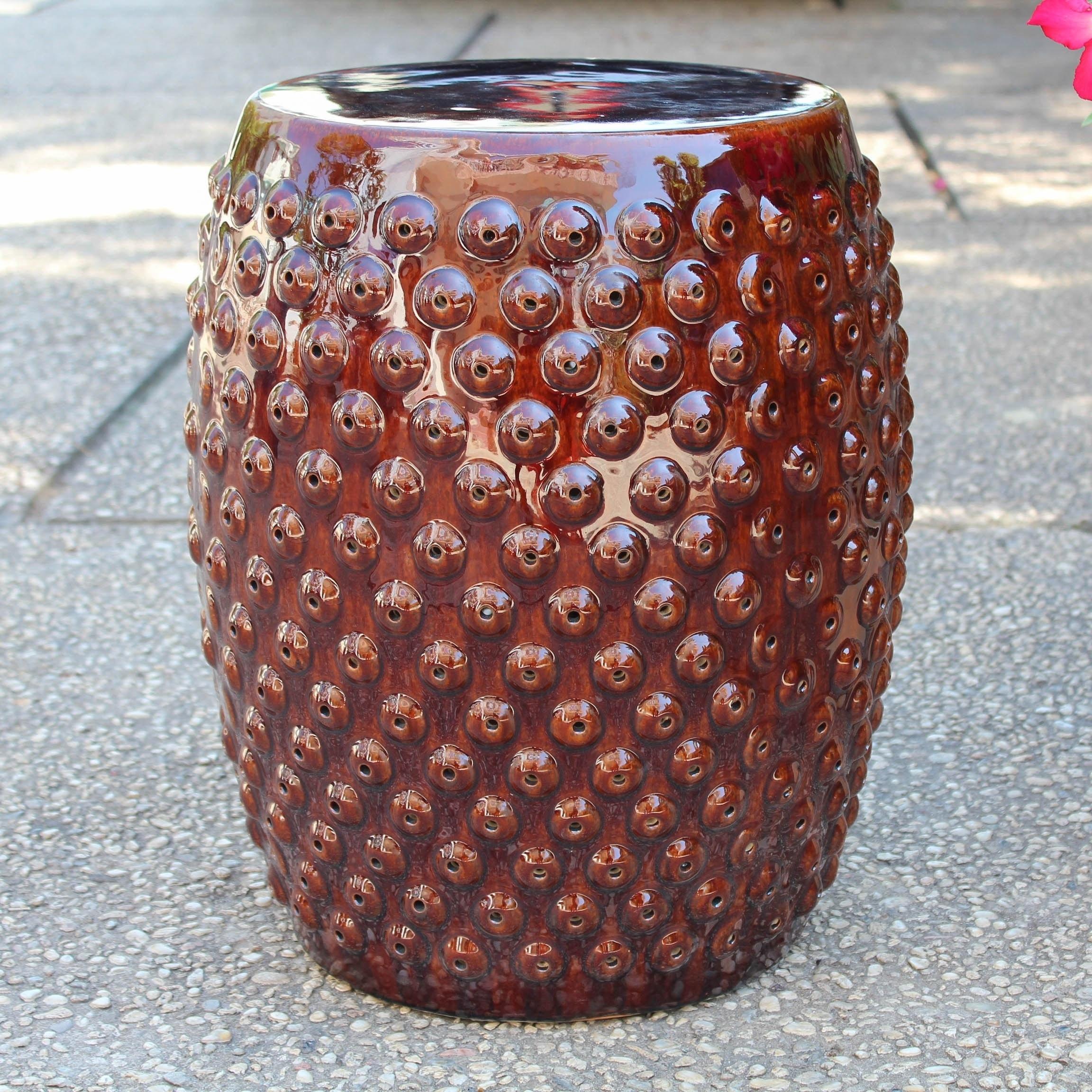 Harringbone Copper Finish Ceramic Drum Stool