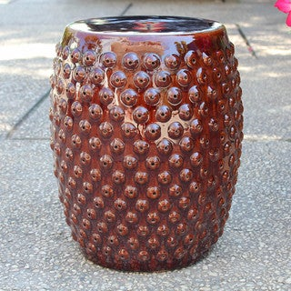 International Caravan Perforated Drum Ceramic Garden Stool