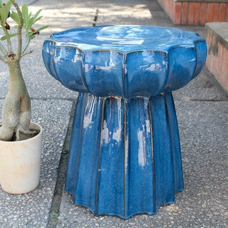 International Caravan Round Scalloped Ceramic Garden Stool