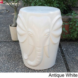 International Caravan Wild Elephant Drum Ceramic Garden Stool