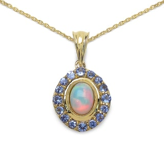 Malaika 14k Yellow Goldplated Silver 1 1/2ct TGW Genuine Ethiopian Opal and Tanzanite Pendant