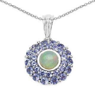 Olivia Leone Sterling Silver 2ct TGW Genuine Ethiopian Opal and Tanzanite Pendant