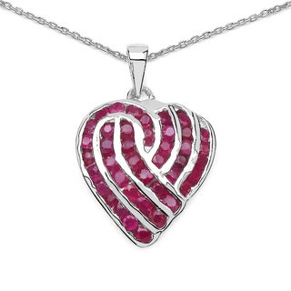 Olivia Leone Sterling Silver 3 3/4ct TGW Genuine Ruby Pendant