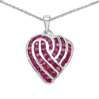 Olivia Leone Sterling Silver 3 3/4ct TGW Genuine Ruby Pendant