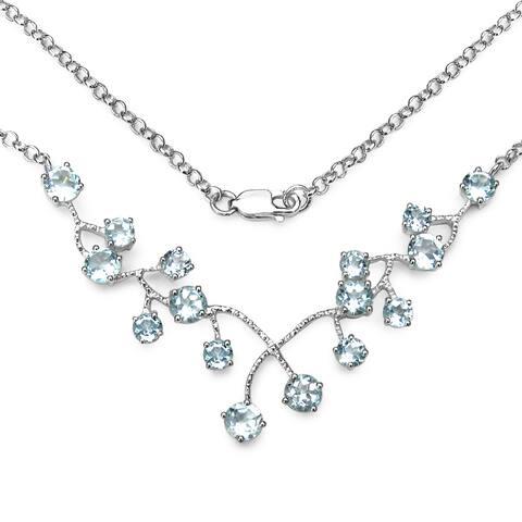 Olivia Leone Sterling Silver 7 2/5ct TGW Genuine Blue Topaz Necklace