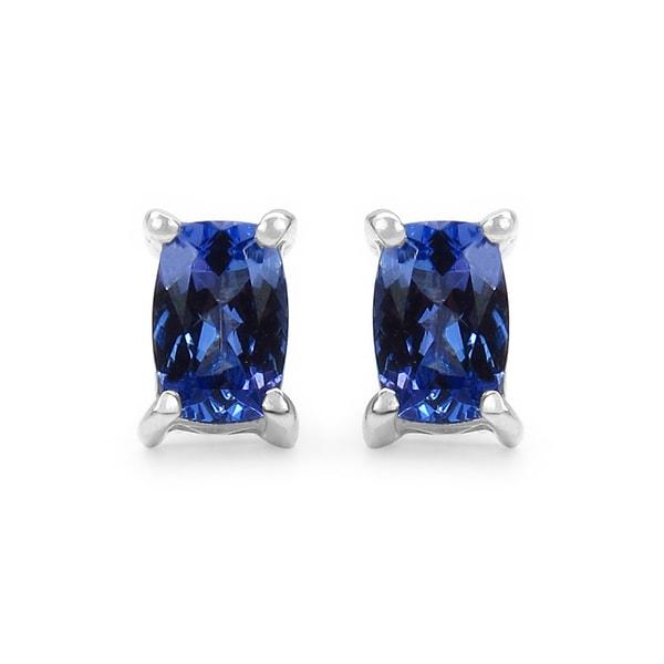 Olivia Leone Sterling Silver 1 10ct Tgw Genuine Tanzanite Earrings
